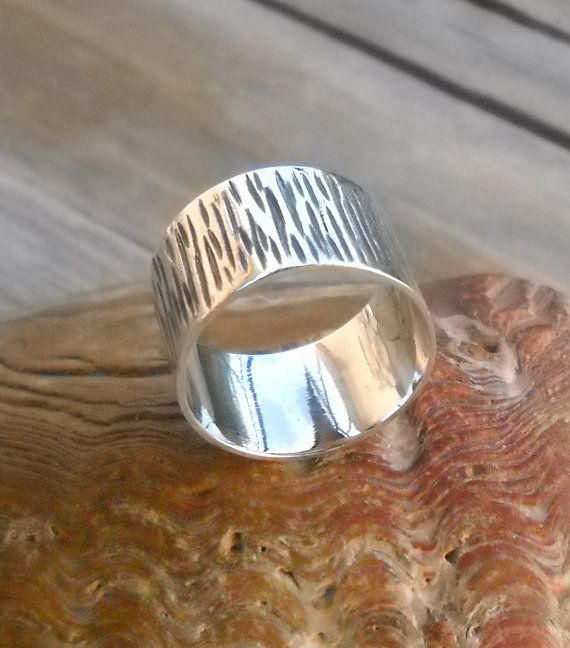 Unisex silver Band Ring Black Rhodium Fine Silver hammered