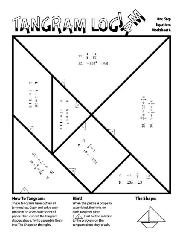 Solving One Step Equations Tangram Activity A In 2021 One Step Equations Free Math Activity Algebra Worksheets Free one step equation worksheets