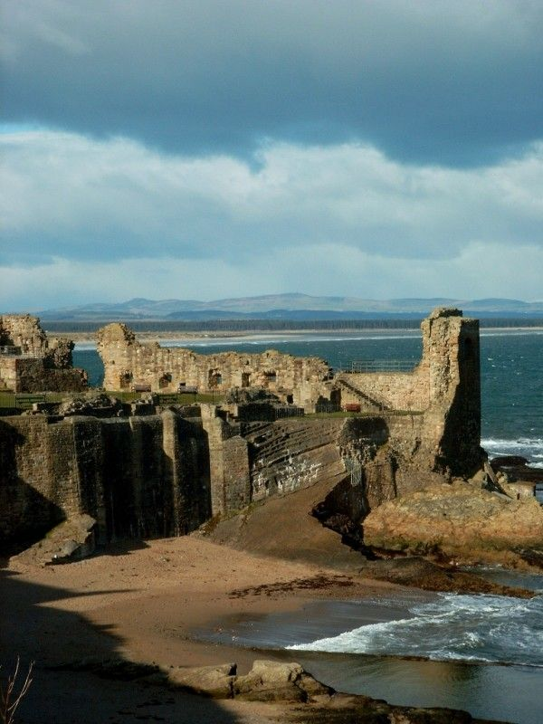 The ruins of St Andrews Castle - Fife, Scotland. Built in 1200