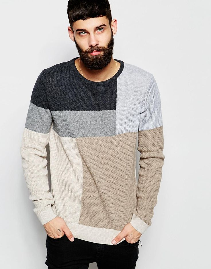 Image 1 ofRiver Island Colour Block Knitted Jumper