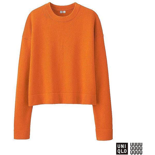UNIQLO UNIQLO U Cashmere Blend Crew Neck Sweater (5 colours) (205 BRL) ❤ liked on Polyvore featuring tops, sweaters, crew sweater, orange top, uniqlo sweater, crew top and crew neck sweaters