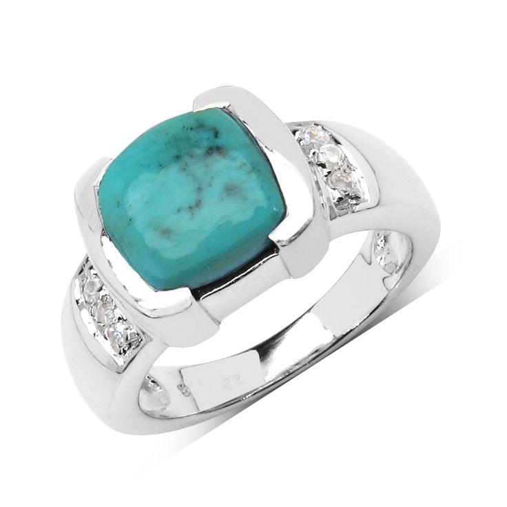 Malaika Sterling Silver 2 5/8ct Turquoise and White Sapphire Ring