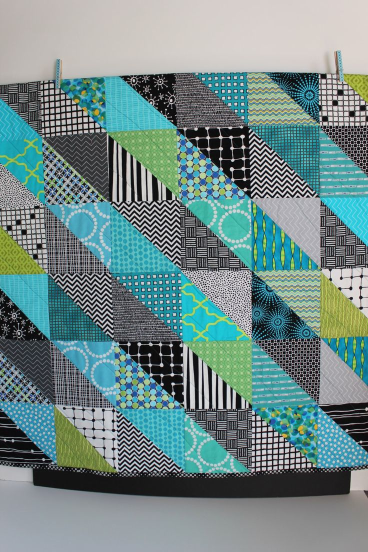 """Modern Baby Quilt """"Sean II""""; Teal; Blue; Green; Geometric Triangles; Scrap Quilt; Lap Quilt; Play Mat; Wall Hanging; Gender Neutral by iheartbabyquilts on Etsy https://www.etsy.com/listing/228733813/modern-baby-quilt-sean-ii-teal-blue"""