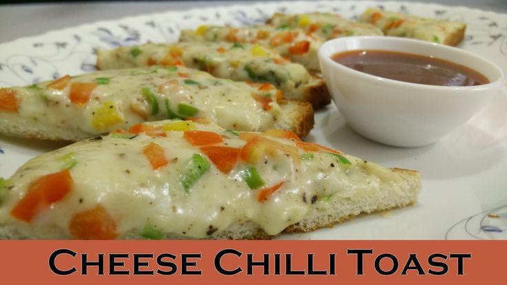 Cheese Chilli Toast Recipe (Instant Breakfast / Snack) Cheese Chilli Toast - easy to prepare quick breakfast / snack recipe. It is topped with Green Chilli, Capsicum and Tomato.