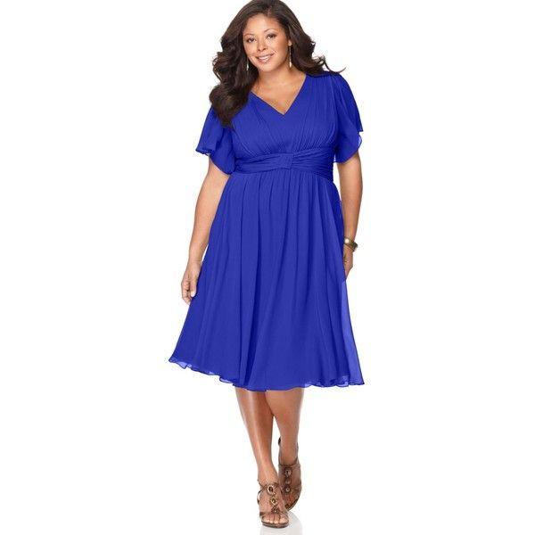 Suzi Chin Plus Size Dress, Flutter Sleeve Empire Waist ($110) found on Polyvore featuring dresses, ruffle sleeve dress, blue empire waist dress, plus size day dresses, women plus size dresses and womens plus dresses
