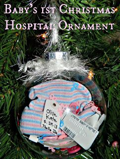 Hospital Baby Ornament - Baby's 1st Christmas - hospital hat, bracelets and baby confetti