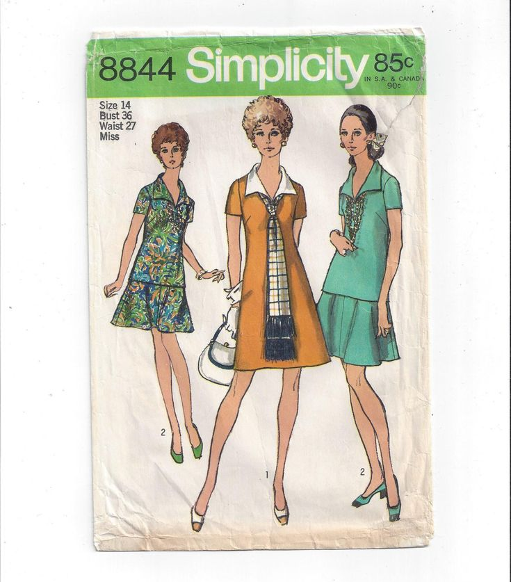 Simplicity 8844 Pattern for Misses' Dress or Over Blouse, Skirt, & Scarf, Size 14, From 1970, Vintage Sewing 1970s Look, Classic 1970s Look by VictorianWardrobe on Etsy