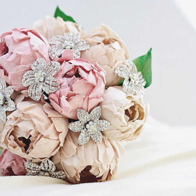 peonies and rhinestone flower brooch bouquet