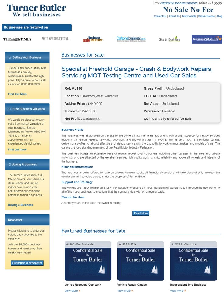 Are You Searching To Buy Garage Businesses For Sale From Turner