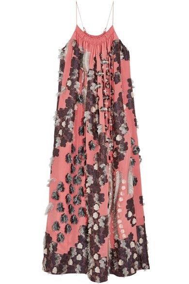 Chloé - Floral Fil Coupé Silk Gown - Coral - FR