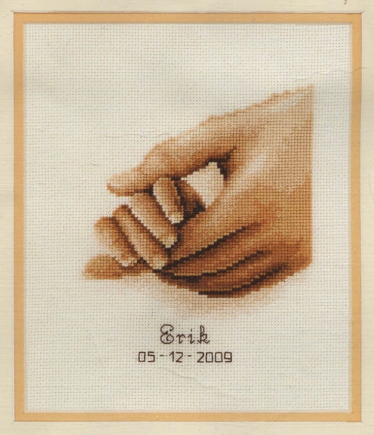Hold My Hand - A Vervaco counted cross stitch Birth Record Kit