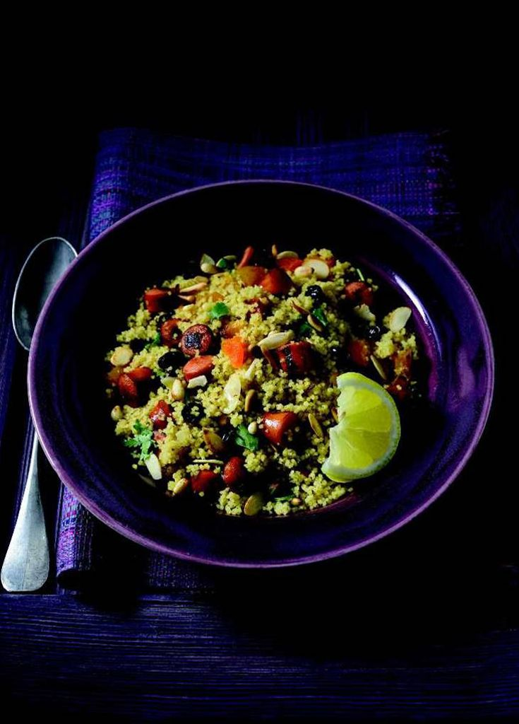 Moroccan Cous Cous - made into a hearty meal with frankfurters...