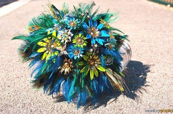 Bridal brooch original bouquet PEACOCK by hairbowswonderworld