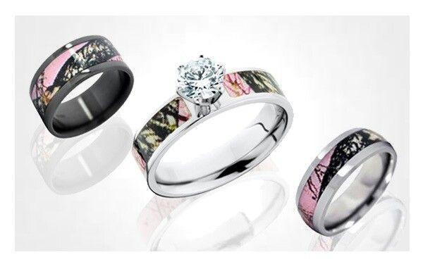 Pink camo wedding ring set