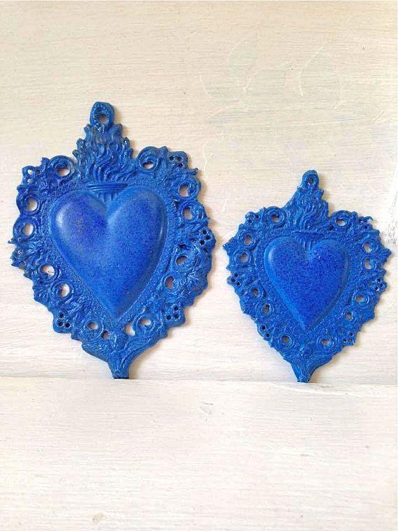 ex voto azul _ cuore sacro in resina