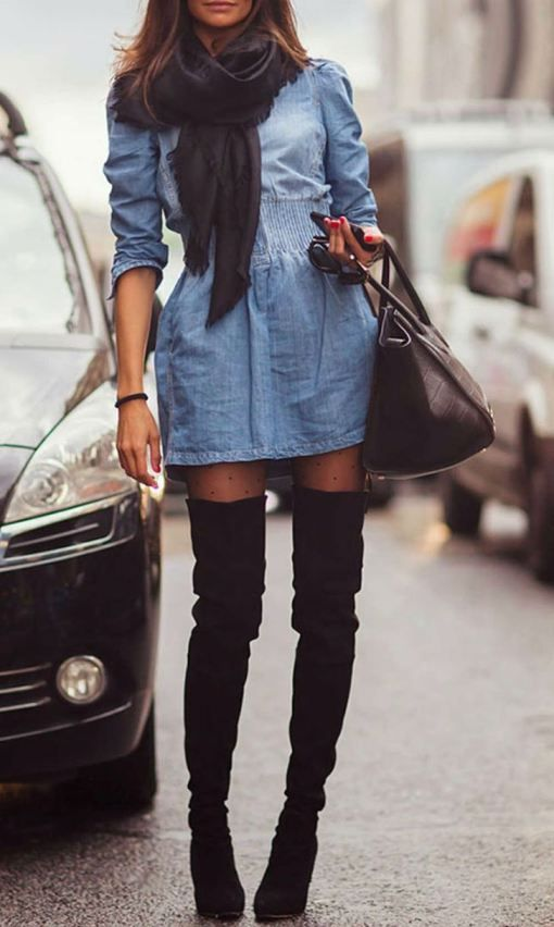 denim dress and thigh high boots fashion style outfit clothes