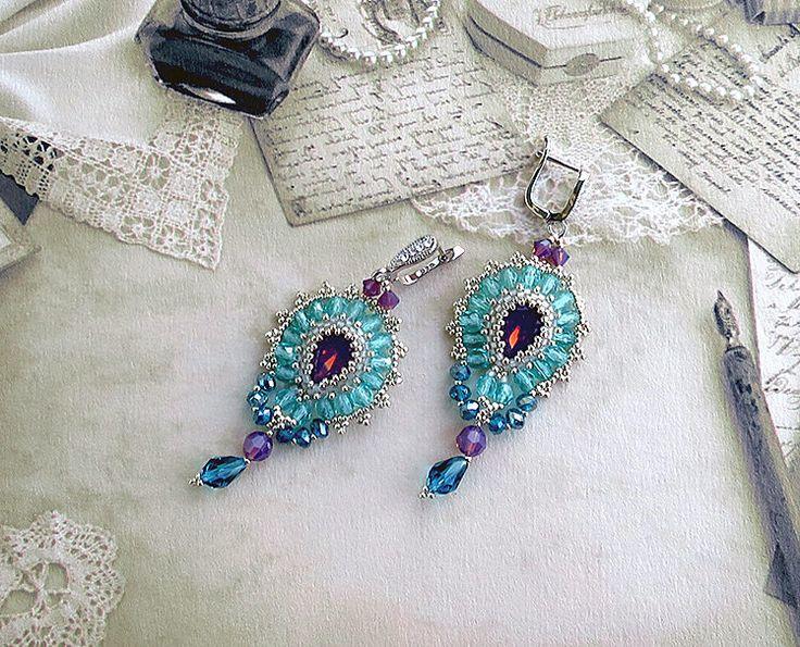 Chandelier crystal beaded earrings, Braided earrings, pink opal swarovski crystal, Beading Earrings, beaded jewelry, silver 925
