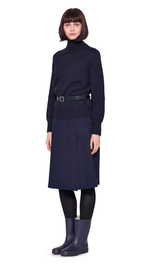 AUTUMN WINTER 2016 COLLECTION - NAVY BRITISH WOOL MHL SADDLE SLEEVE ROLL NECK, DARK NAVY WOOL COTTON DRILL MHL FRONT WRAP SKIRT, BLACK SADDLE LEATHER SAM BROWNE BELT, NAVY PVC 3/4 LENGTH WELLIE