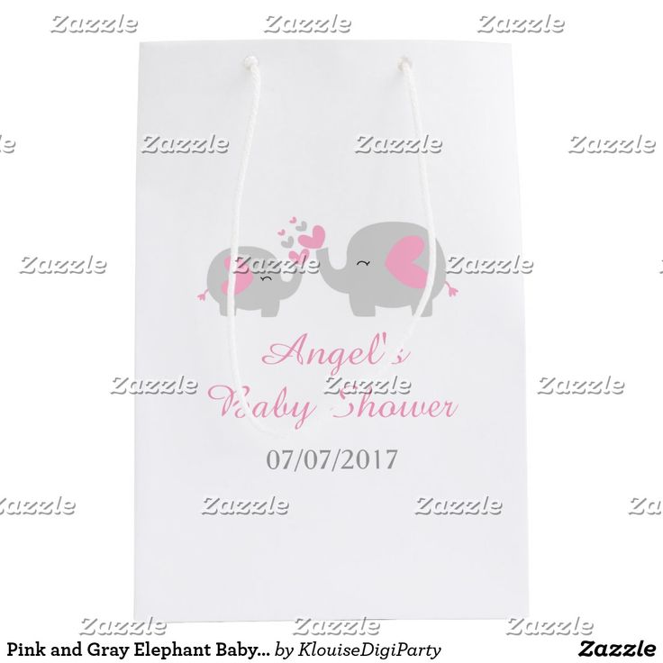 Pink and Gray Elephant Baby Shower Medium Gift Bag