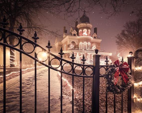 Christmas Art Print Or Canvas Seiberling Mansion In Kokomo Etsy Holiday Wall Art Mansions Kokomo