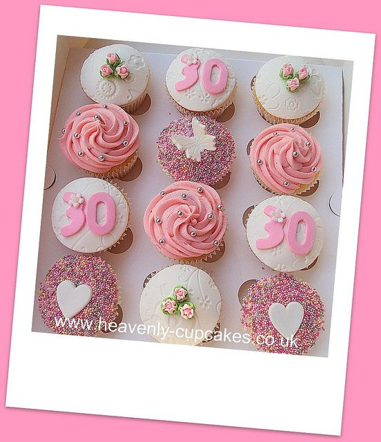 Pretty & Pink 30th Birthday Cupcakes by Heavenly-Cupcakes, via Flickr