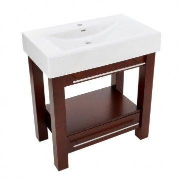 Photo Gallery On Website Poplar Vanity in Mahogany with Porcelain Vanity Top in White with