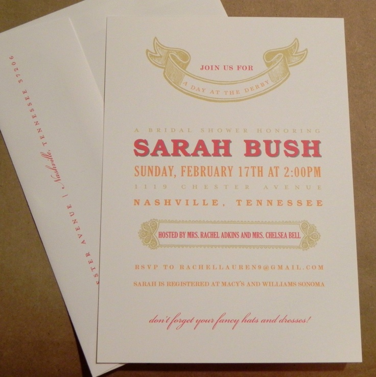 Derby Day Bridal Shower Wedding Bachelorette Gold