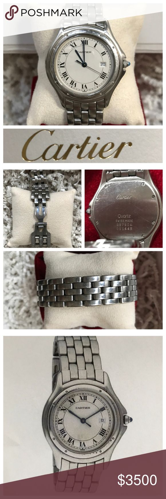 CARTIER PANTHERE (COUGAR) WATCH Ladies PANTHERE midsize watch (33 mm). Stainless steel bracelet. Quartz movement. Model number 987904. Serial number 001445. Polished bezel. Sapphire point. Roman numerals  on white dial face with date feature. Minor scratches. EXCELLENT condition. New battery. Comes w/ velvet Cartier presentation box, ribbon, Cartier watch book and Cartier shipment box. Makes a great gift...or treat yourself! The watch is gorgeous and classic!  Two appraisals included ranging…