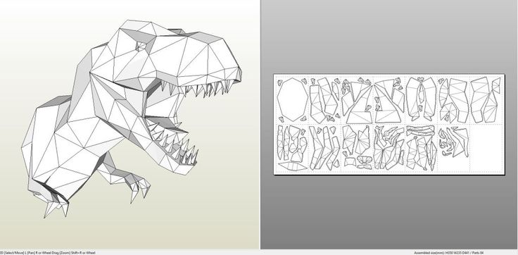 Papercraft template for Animal - Tyrannosaurus Wall Bust by Aybek Osmonaliev.
