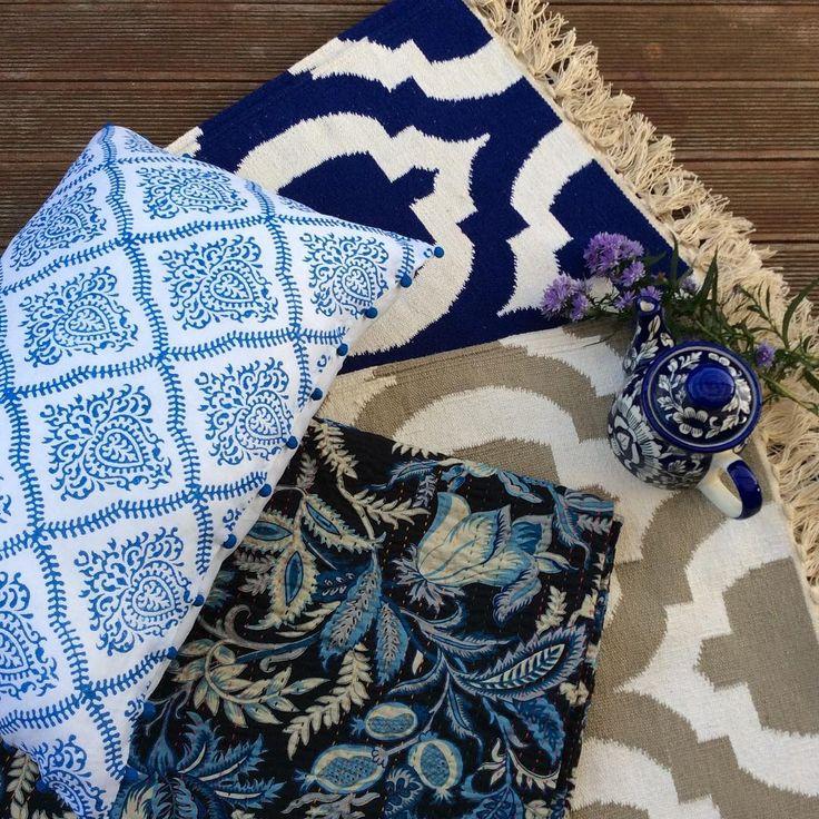 Beautiful summer evenings call for luxurious soft linens, a favourite book & a cup of tea.....#homedecor#homewares#indigo#cushions#throws#bedspreads#homestyle#interiors#interiorstyling#interiordecor#interiordesign#blueandwhite#hamptonstyle#french#eclectic#bohemianstyle#decor#design#designporn#instadesign#handmade#handprint#handwoven#rugs#interior123#interiorforall#interior444#shakiraaz
