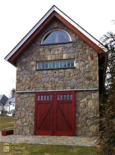 Stone Guest House / Workshop / Barn with Sliding Barn Doors {http://www.realcarriagedoors.com}