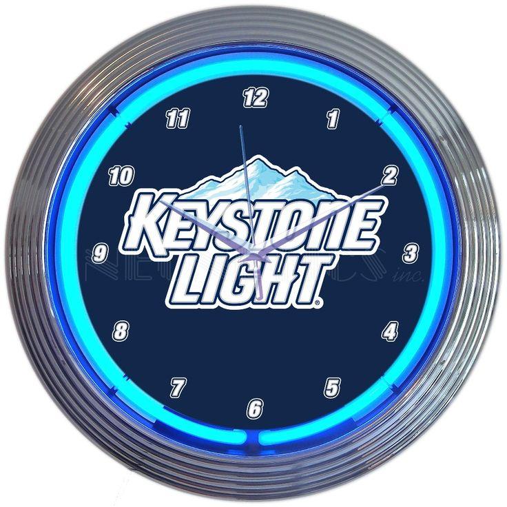 "15"" Keystone Light Beer Neon Clock"