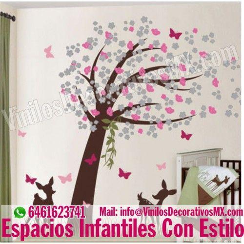 Vinilos de arboles infantiles http vinilosdecorativosmx for Vinilo habitacion bebe nina