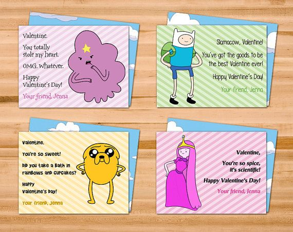 printable adventure time valentine cards