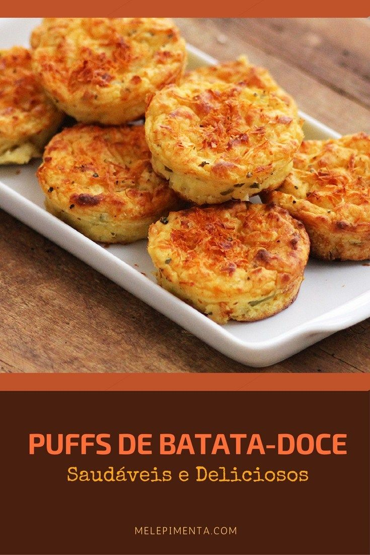 Puffs de batata-doce - Veja a receita desses bolinhos salgaddos saudáveis e muito gostosos. A receita é fácil de fazer e é uma ótima opção para levar para o lanche ou na marmita.