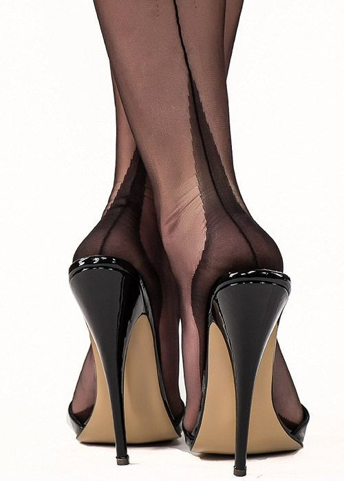 Gio Classic Fully Fashioned Point Heel Stockings #highheelslingerie