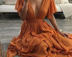 Charming Abendkleid, Chiffon Abendkleider, V-Ausschnitt Ballkleider, A-Line Abendkleid
