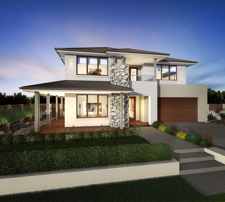 Huntingdale - Facades | McDonald Jones Homes  Like the materials the lower and upper roof large windows