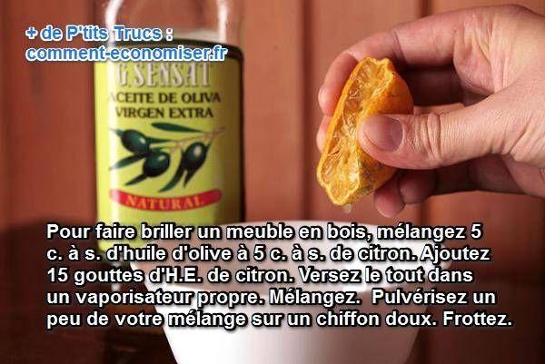 Il existe une astuce économique qui obtient des résultats incroyables. Il s'agit d'un produit naturel fait maison, à base de jus de citron, d'huile d'olive et d'huile essentielle de citron.  Découvrez l'astuce ici : http://www.comment-economiser.fr/nettoyer-meuble-bois.html?utm_content=bufferf5752&utm_medium=social&utm_source=pinterest.com&utm_campaign=buffer