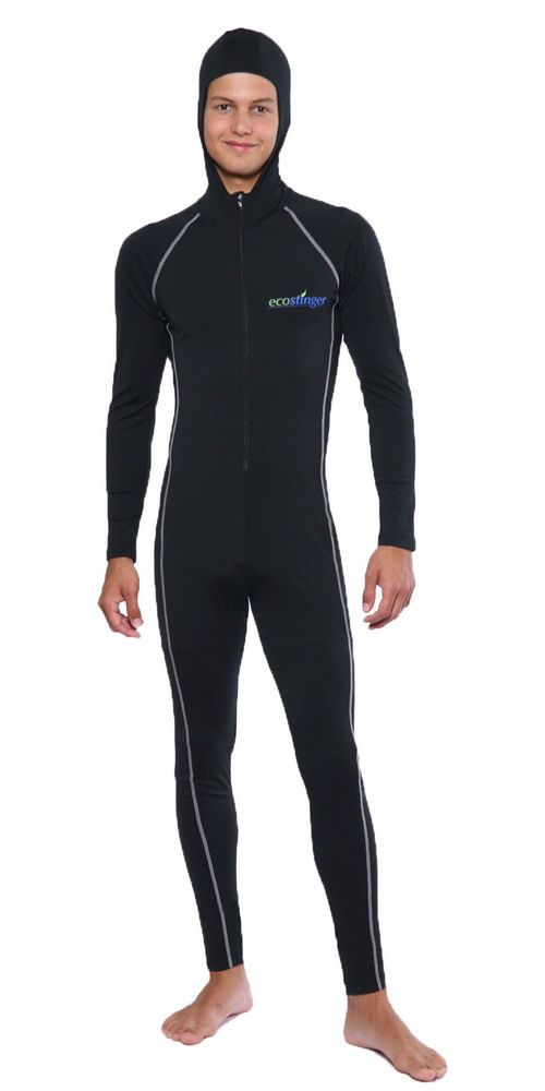 UV PROTECTION STINGER SWIMSUIT DIVE SKIN WITH HOOD SILVER FOR MEN #Unbranded