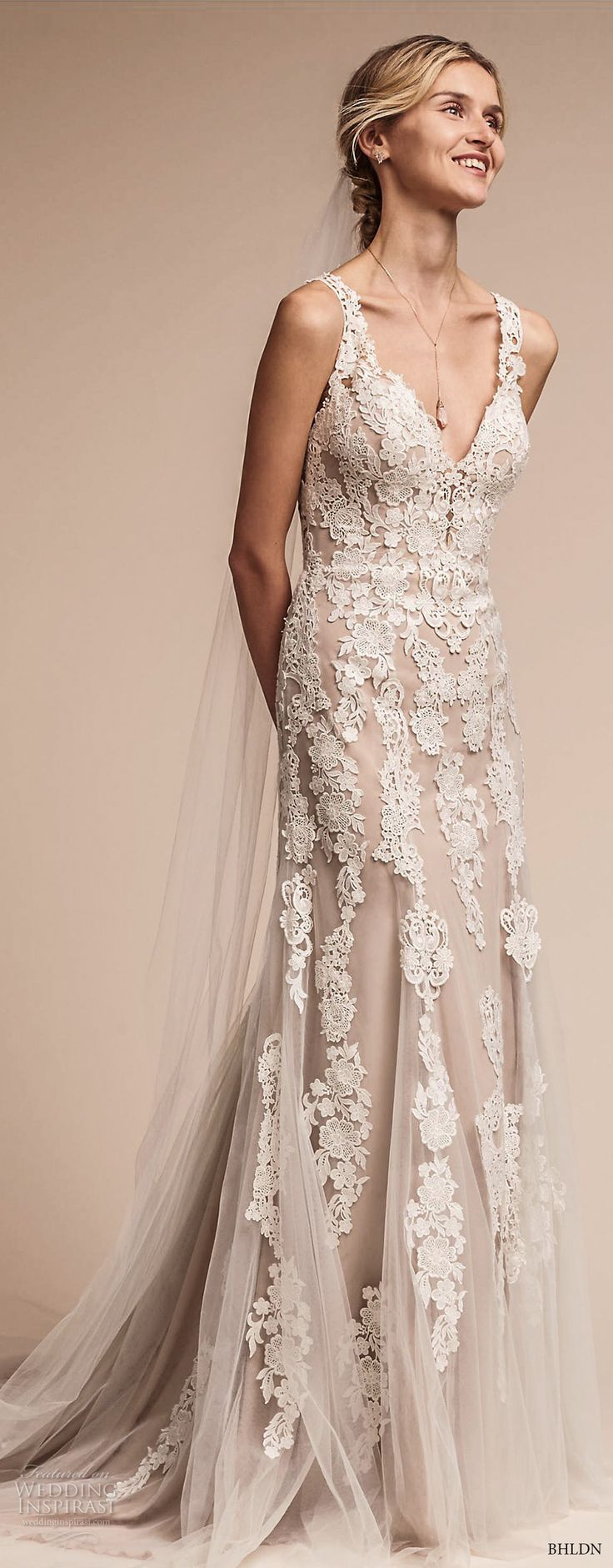 bhldn fall 2017  americana bridal sleeveless embroidered strap heavily embellished bodice elegant romantic sheath a  line wedding dress lace back short train (monarch) fv  -- BHLDN Freshest Fall 2017 Wedding Looks