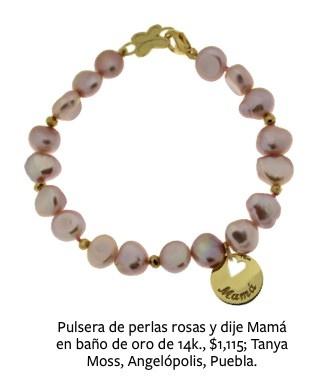 Esta pulsera con perlas rosas y dije con ba o de oro for Bano de oro el yunque