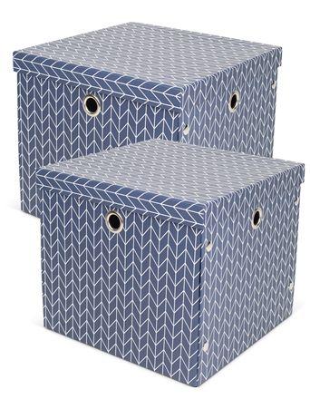 Alice & Fox Förvaringsbox Papp Arrows 2-pack, Dusty Dark Blue Mål: L32 x B32 x H28. 159kr