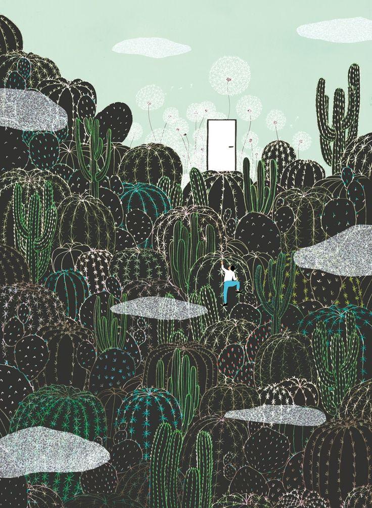 yasmine gateau, illustration, editorial illustration, cactus, escalade, illustre boutique