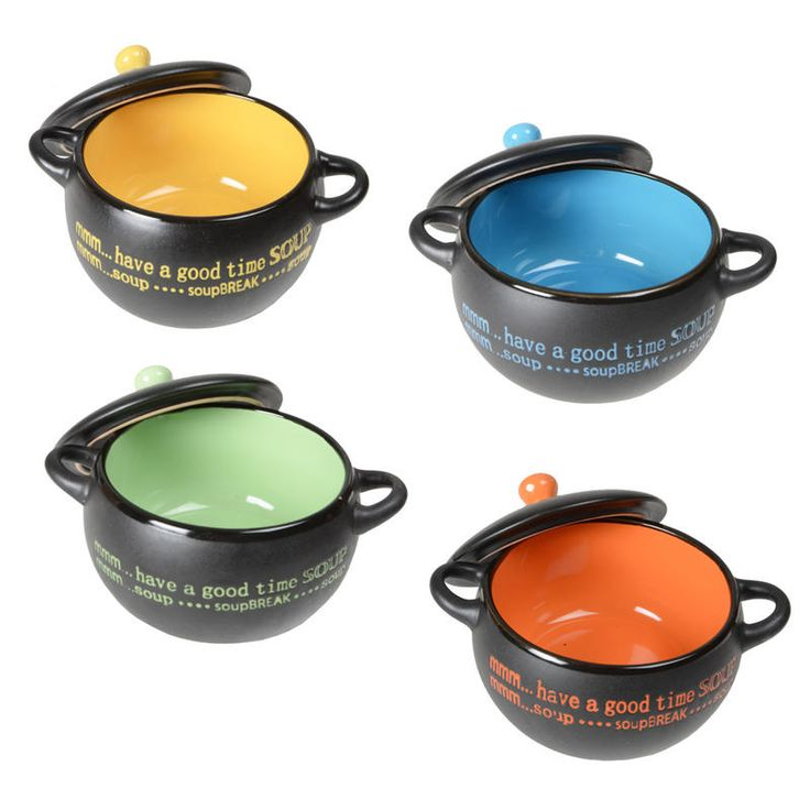 soup bowls | Set of 4 Modern Design Ceramic Soup Bowls Gift Idea With Coordinating ...