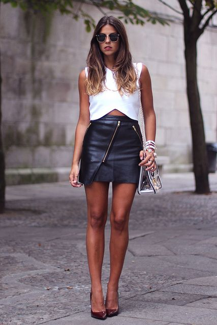 Leather skirt and white shirt