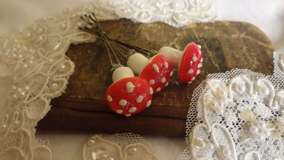 Woodland Fairy Mushroom Bridal Bobby Pins by BerthaLouiseDesigns  $12.95 for all three, sweet little mushrooms!!!