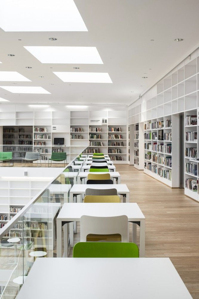 Love this bright colorscheme clean and airy - nice for mezzanine areas in St Ps? Dalarna Media Library / ADEPT