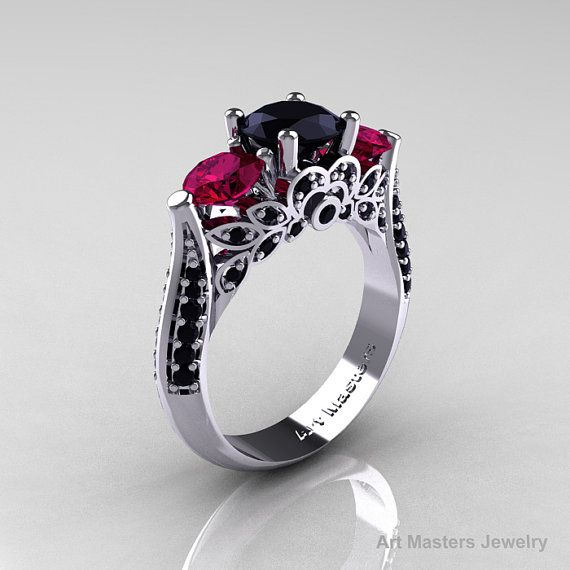 14K White Gold Three Stone Black Diamond Raspberry Red Garnet Solitaire Ring R200-14KWGBDRRG