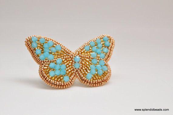 Bead Embroidery Brooch - Blue on Gold Butterfly - Hulan Jade Swarovski Crystals - Handmade Jewelry by Splendid Beads
